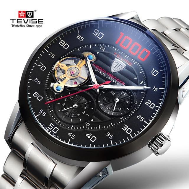 860814136 Men Full Steel Automatic Mechanical Watches Top Brand TEVISE Chronograph  Tourbillon Clock Men Wristwatch Military Watches Men