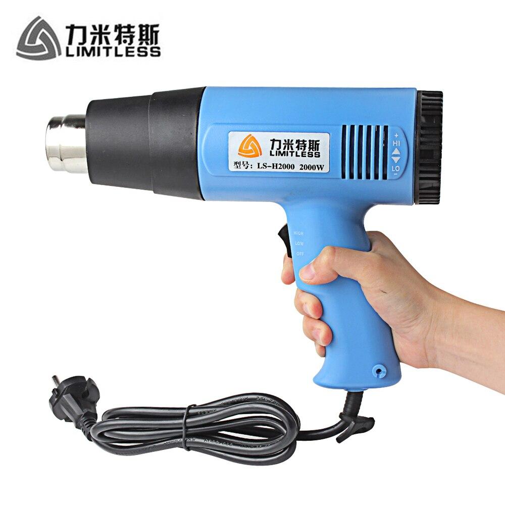 220 V/110 V 2000 W eléctrico industrial Pistolas de calor temperatura ajustable pistola de aire caliente de mano para quitar la pintura retráctil embalaje