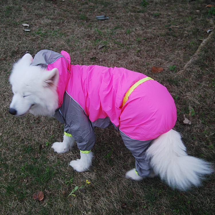 New Pet Large Dogs Raincoat Out Door Walking Waterproof Fluorescence Rain Cover Water Protection Small Big Dog Samoyed Clothes
