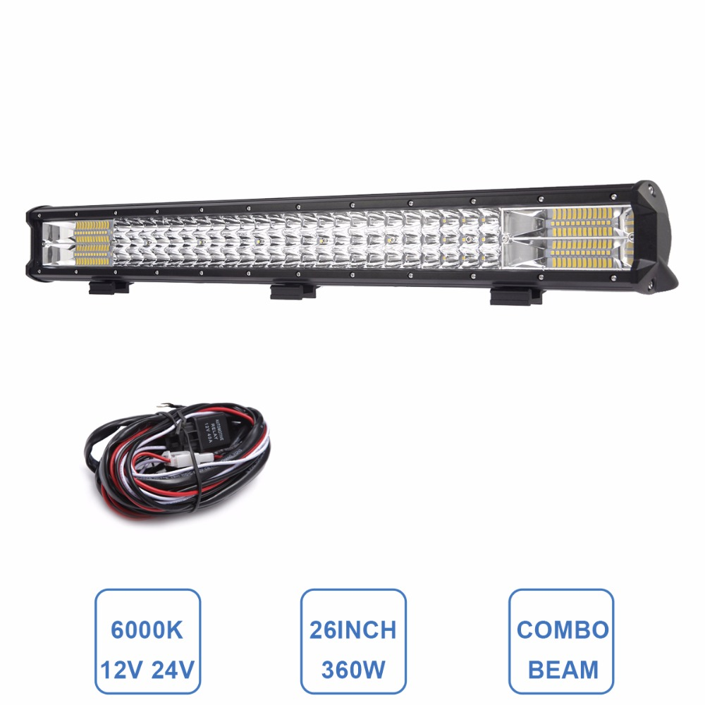 26 INCH LED Light Bar Indicator Driving Work Light Offroad Boat Car Tractor Truck 4x4 SUV ATV Trailer Wagon 12V 24V Styling Lamp atreus 10pcs 3inch 12w car led work light 12v spot drl lamp for atv 4x4 truck offroad trailer motorcycle boat driving fog lights
