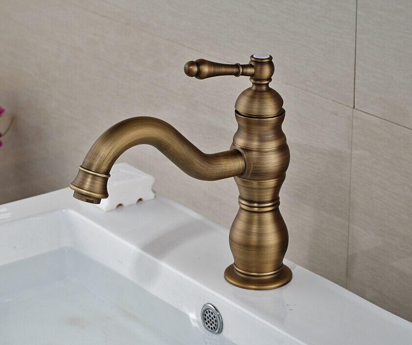 все цены на Free Shipping Deck Mounted Antique Brass One Hole Bathroom Basin Faucet Mixer Tap онлайн