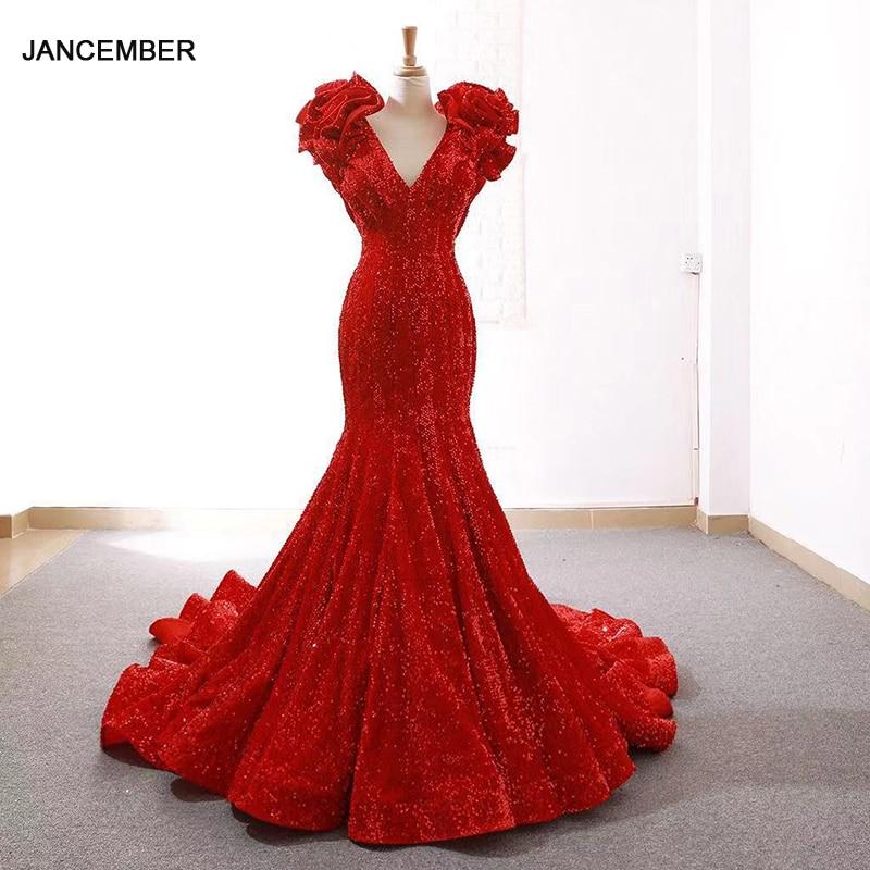J66736 jancember sirena vestidos de noche con cuello en V profundo especial mangas de encaje de flores rojo de fiesta de boda de novia vestidos abendkleid