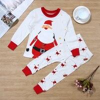 2pcs Baby Girl Boy Clothes Christmas Santa Claus Printed Long Sleeve T Shirt Long Pants