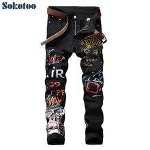 Black Jeans Pencil-Pants Printed Fashion Stretch Slim-Fit Men's Cotton Denim Sokotoo
