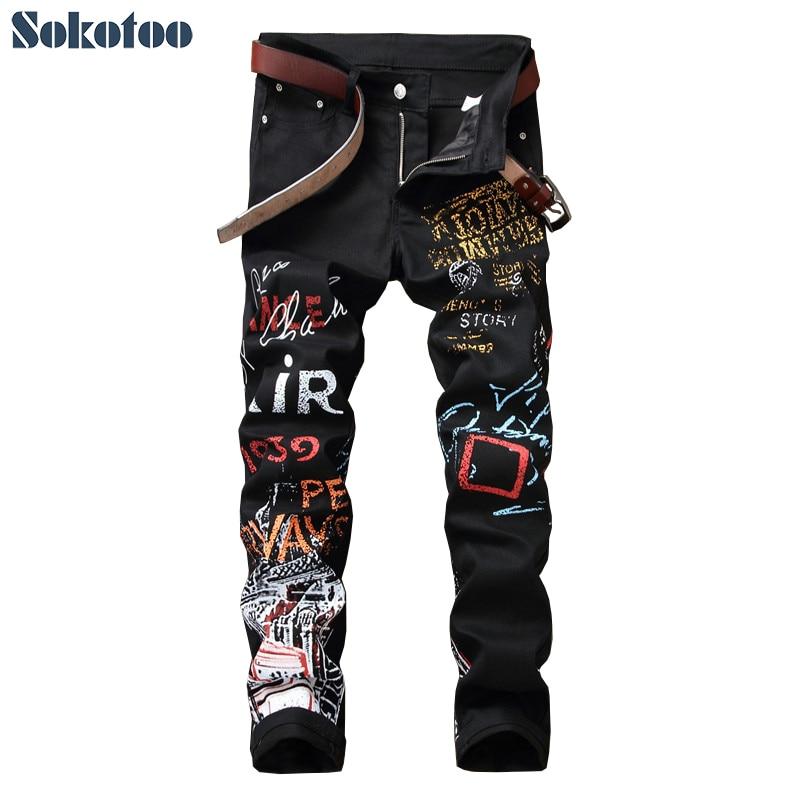 Sokotoo Men's letters pattern printed black jeans Fashion painted slim fit stretch cotton denim pencil pants