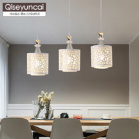 Qiseyuncai Modern minimalist three headed restaurant chandelier creative fashion personality atmosphere bar LED lamps