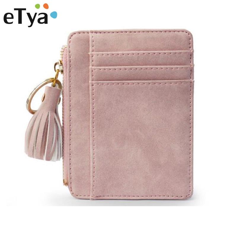 eTya New Fashion Women Tassel Zipper Small Wallets Coin Pocket Clutch bag Women's Short Bag Pu Leather Credit Card ID Holders