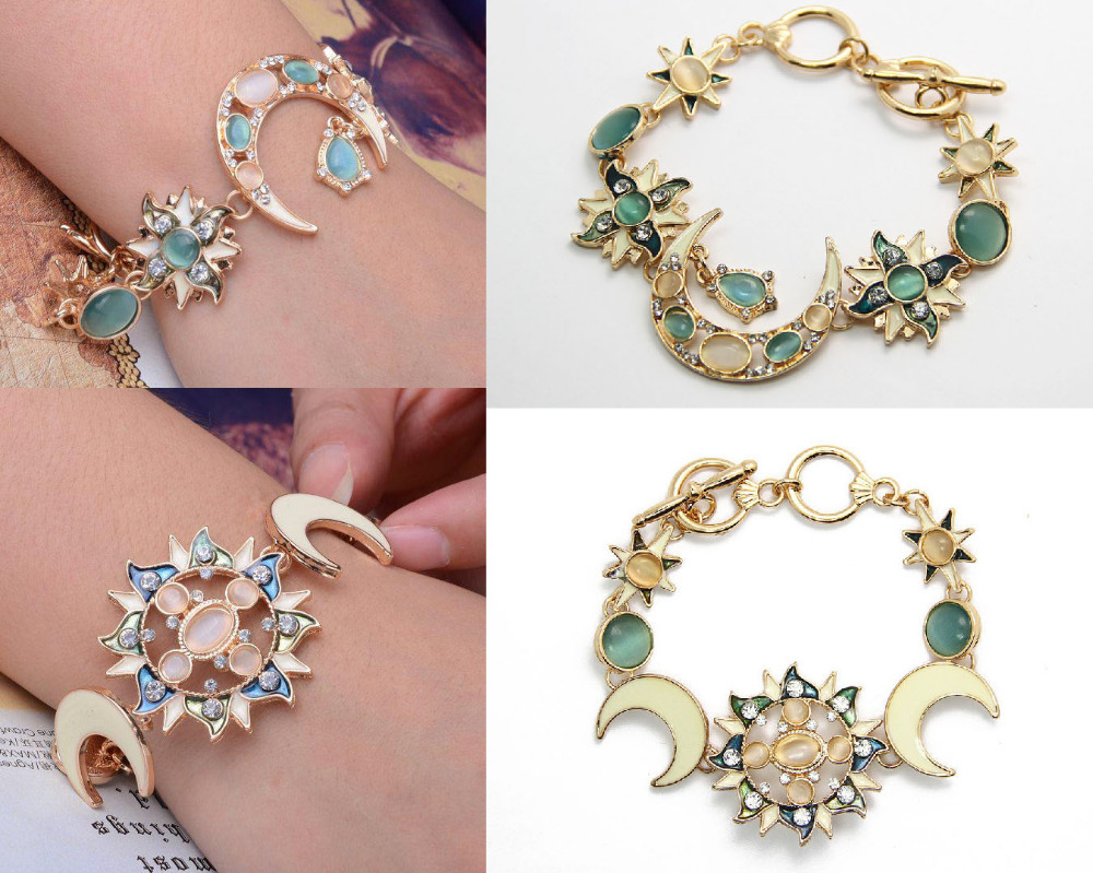 Luxury Crystal Gem Opal Enamel Sun Moon Star Charms Bracelet Gold Tone Jewelry In Chain Link Bracelets From Accessories On Aliexpress