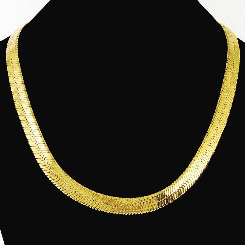 Классический плоский елочка цепи Solid Желтое золото Заполненные мужские  цепочки, ... f354f8c310e