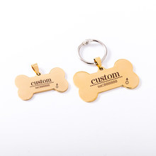Brand Customs Pet Bar Necklace Stainless Steel Dog ID Tag Pet Collar Personalized Dog Cat Engraving Name label Laser(China)