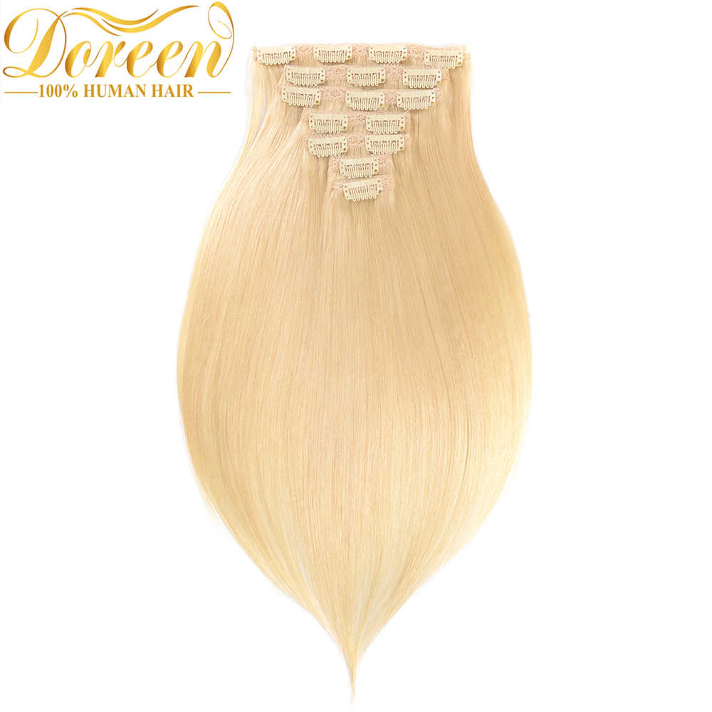 "Doreen #1b #2 #4 #8 #613 Clip In Human Hair Extensions 90G-200G Brazilian Machine Made Remy Hair Clip Ins Straight 16""-22"""