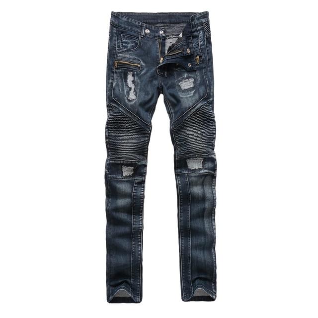 De Invierno los hombres de Europa American Biker Jeans Hombres Plisado Ripped Apenada Pantalones Rotos Hombre Delgado Recto Fake Diseñador de Tela