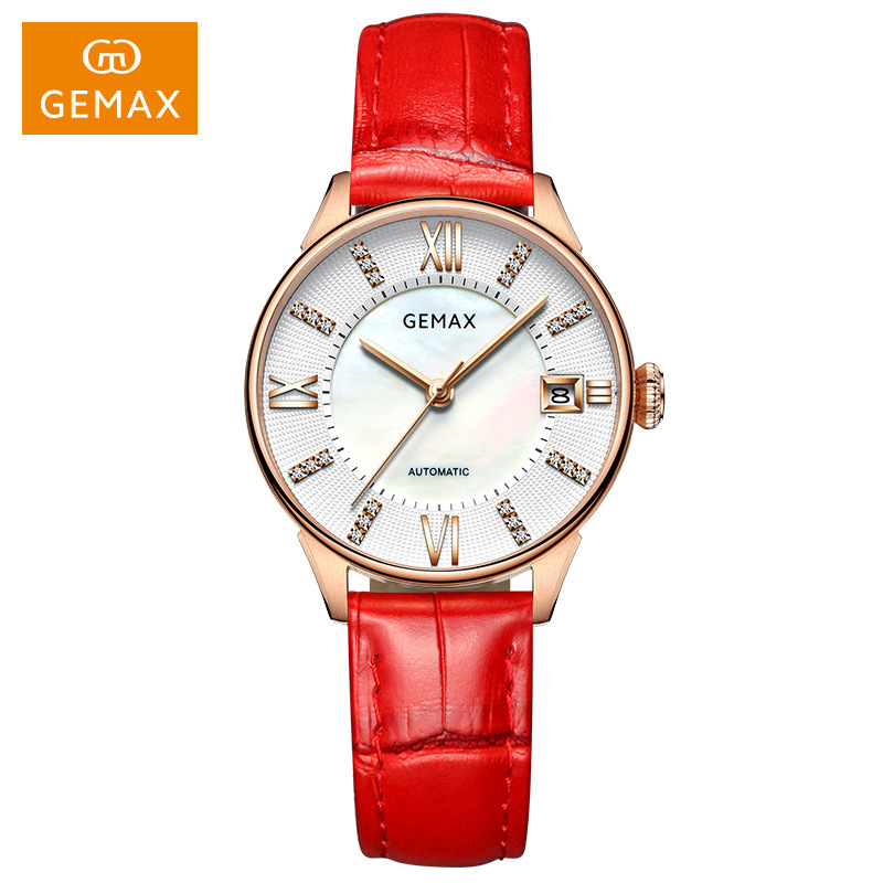 New Top Brand GEMAX Watch Women Genuine Leather 50m Waterproof Ladies Watch Automatic Women Watches Red Mechanical Watch Clock
