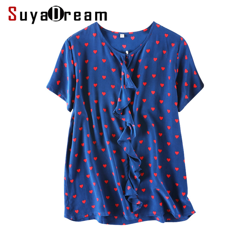 Women Silk   Blouse   100% REAL SILK CREPE Hearts Printed   Blouse     Shirt   Short Sleeved 2019 Spring Summer   Shirt   Blue