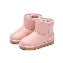 2017 зимние модные ботинки для детских Обувь маленьких Девичьи зимние сапоги дети хлопок-мягкие плюшевые теплые Ботинки Водонепроницаемый ботильоны