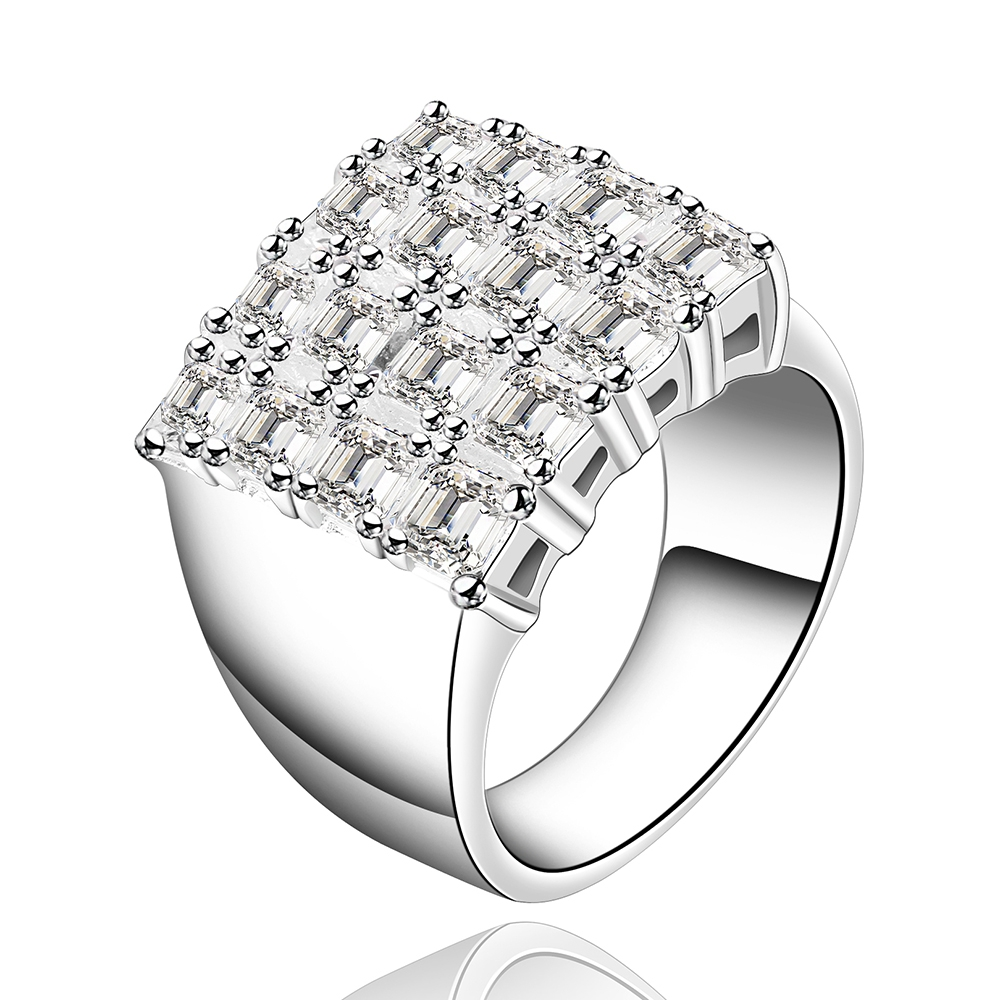 Free shipping hot silver jewelry square zircon stone ladies retro ring to participate in ...