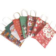 где купить 30pcs/lot Gift Decoration Paper Bag Merry Christmas Gift Bag With Handle 21x13x8cm Lovely Christmas Tree Santa Claus Paper Bag дешево