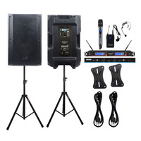 STARAUDIO 2X 4500W 15 Active Powered DSP Audio PA DJ Speakers Stage Stands 2CH UHF Wireless Handheld Headset Microphone SDSP 15