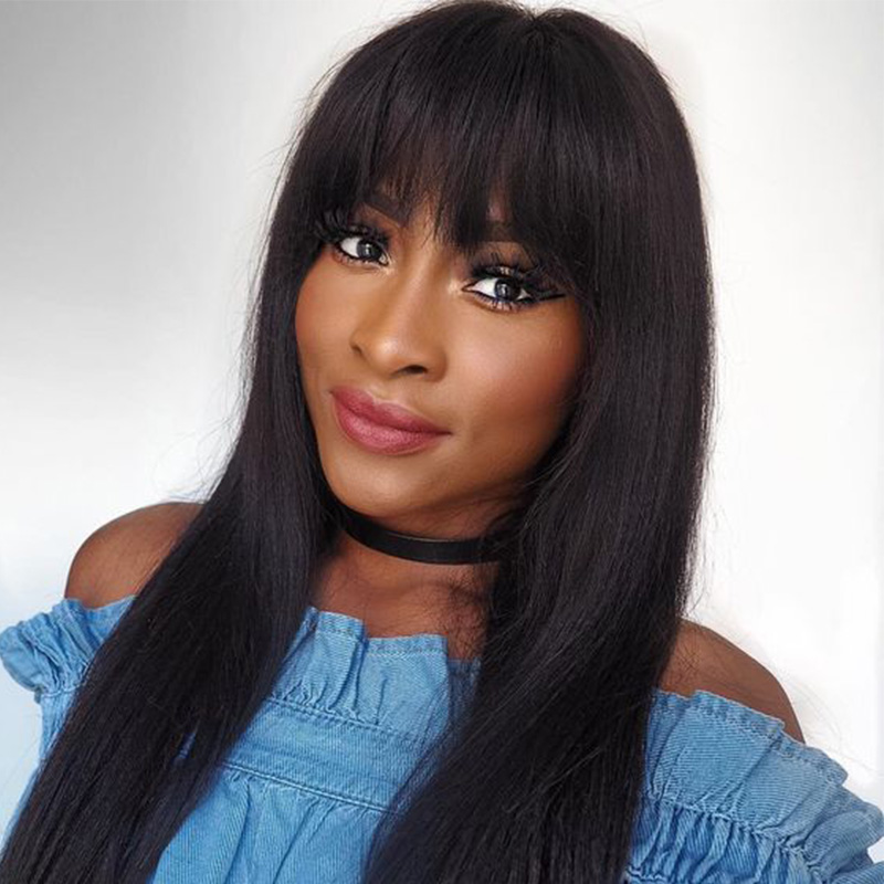 13x6 Lace Front Wigs With Bangs Pre Plucked Brazilian Straight 250 Density Lace Front Human Hair