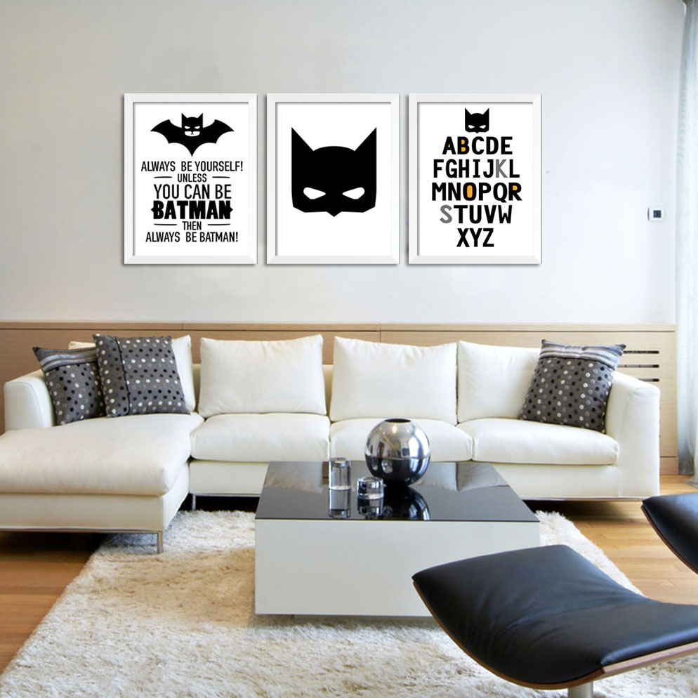 3 piece wall art painting Cartoon Batman print canvas poster for painting on the wall Home decorative Frame not include-in Painting u0026 Calligraphy from Home ... & 3 piece wall art painting Cartoon Batman print canvas poster for ...