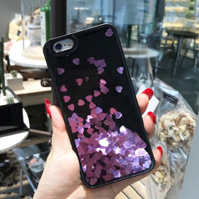 Floating Bling Sparkle Love Heart Case for iPhone 6 6s 7 plus Glitter Diamonds Hard Cover