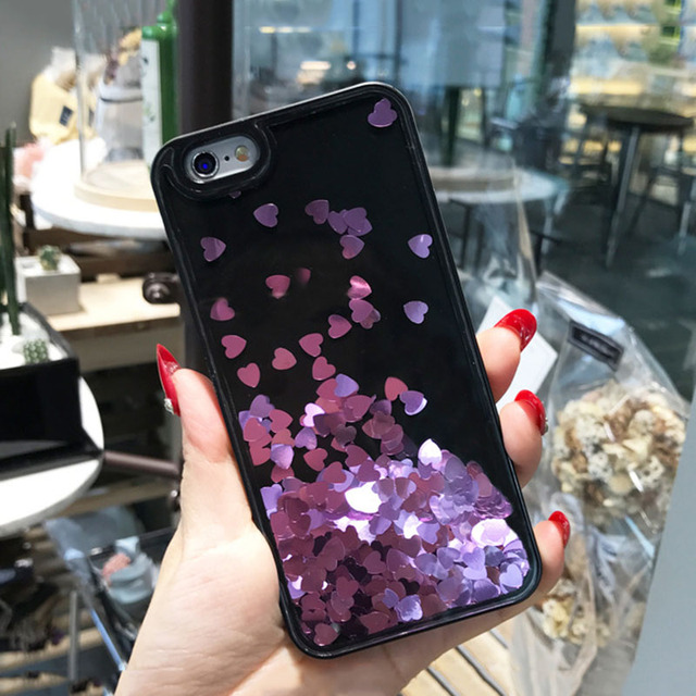 Floating Bling Sparkle Love Heart Case for iPhone 6 6s 7 plus Glitter Diamonds Hard Cover
