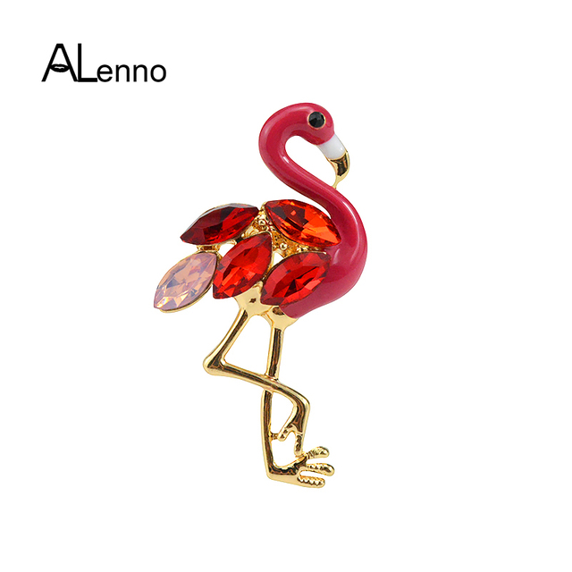 New Design Alloy Enamel Crystal Bird Pins And Brooches For Women 2018 Fashion Jewelry Metal Pins Brooch Of Flamingos Accessories