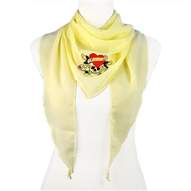 Модные Черный, белый цвет пиратский флаг узор Спорт ветрозащитный шарф для женщин Череп печати Шелковый шарф-ожерелье колье Femme NL1857