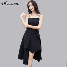 Fashion Irregular Sling Dress Female Sexy Banquet Temperament Black Women Slim Was Robe Dames 2019 Summer New Clothing