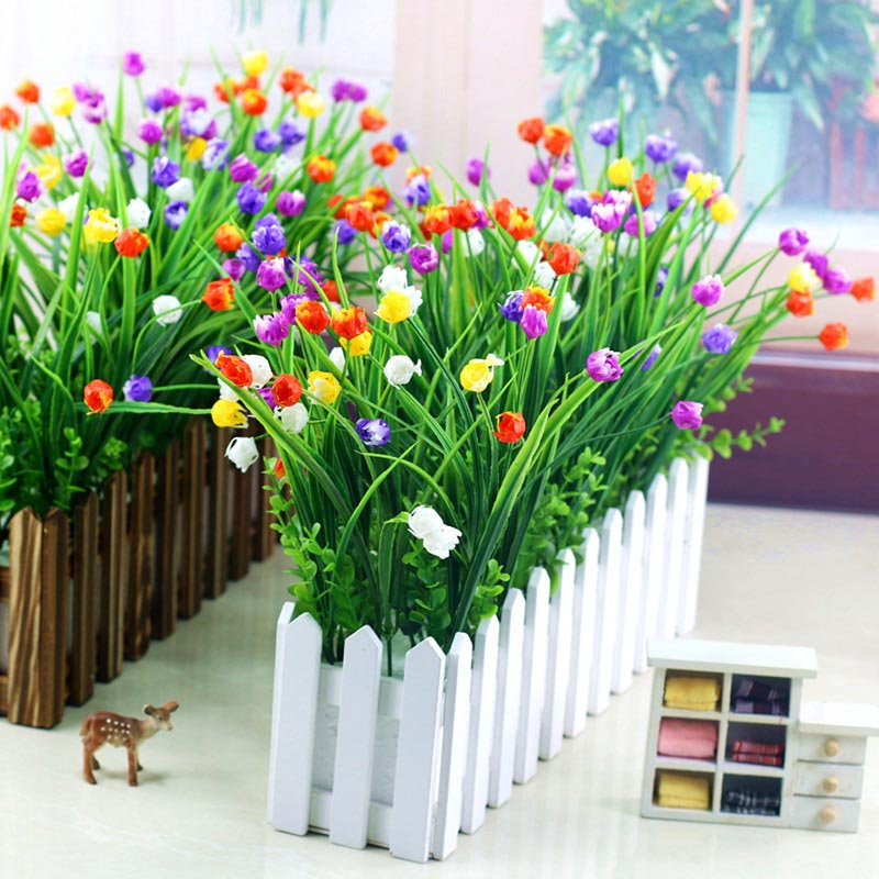 Flone Artificial Plastic Fake Flowers 35cm Small Flower Bouquet Tulip Home Living room Warm Decoration Garden Artificial Flowers (28)
