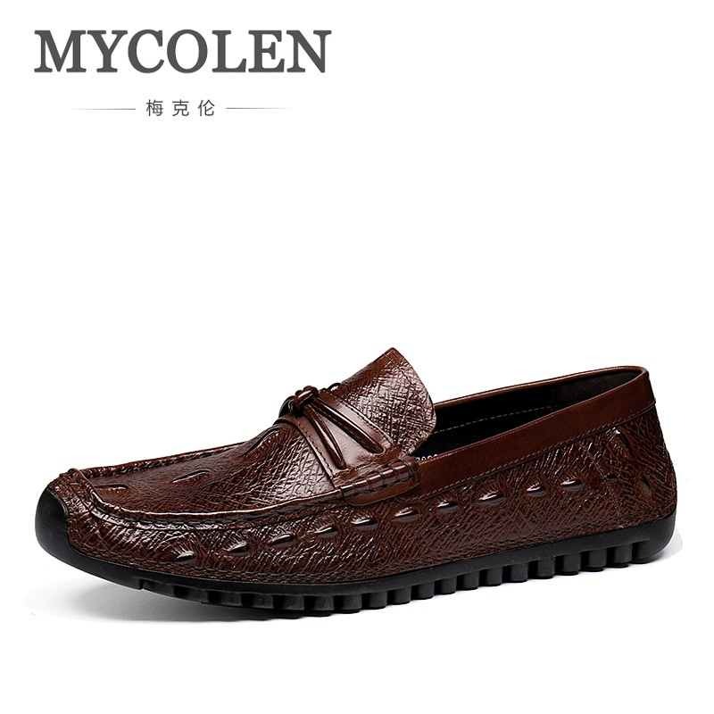 MYCOLEN Men Shoes Genuine Leather Loafers Men Slip-On Solid Brand Shoes Men Shoes Leather Breathable Shoe Zapatos Hombre Casual 2pcs 1200lm t20 3156 3157 led bulb p27w p27 7w led lamp white red amber car brake reverse light 12v turn signal 21smd 3030 d035