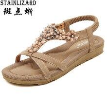 Бесплатная доставка; Модель 2016 года летние модные женские босоножки со стразами туфли на плоской подошве в богемном стиле с цветком Повседневная обувь; женская обувь DT239