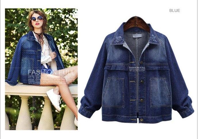 2018 Spring Autumn Plus Size XL-5XL NEW Female Jacket Raglan Sleeve Pocket Denim Jacket Bomber Jacket Jeans Jacket Coat ouc2686