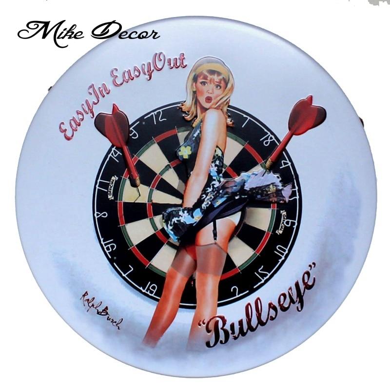 [ Mike86 ] Bullseye Sexy Lady Irregular sign painting Retro Gift - Home Decor