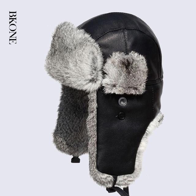 77f026e9fea High Quality Genuine Leather Rabbit Fur Bomber Hats Men Women s Natural Fur  Trapper Hat Winter Russian