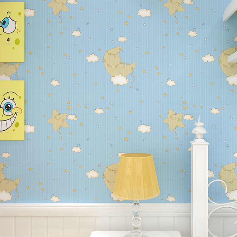 Modern Cartoon Starry Night Moon and Stars Children Wallpaper Room Non-woven Sky Kids Wallpapers Boy Girls Room Pink Blue Creamy beibehang environmental non woven boy girl warm cartoon children s room blue sky clouds balloon wallpaper