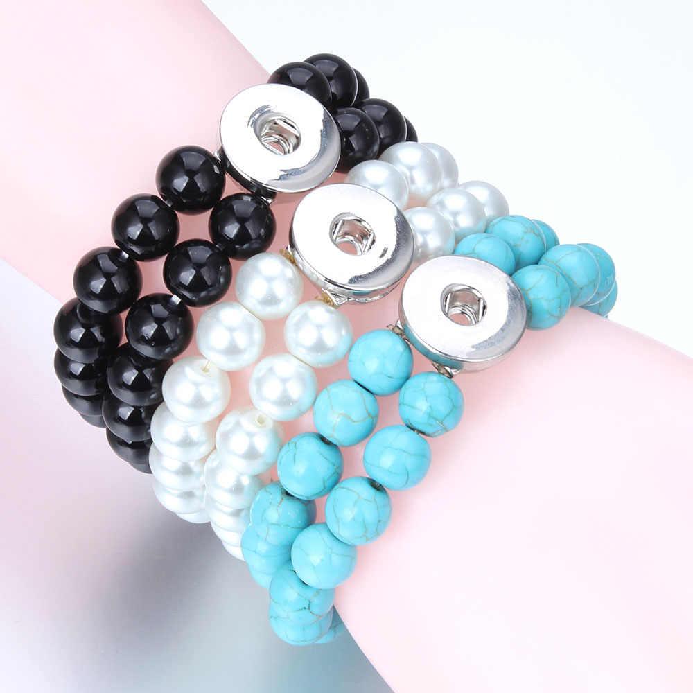 Новые бусины браслет с застежкой черный двойной слой со вставками из натурального камня браслет подходит 18 мм 20 мм кнопки ювелирные изделия для женщин мужчин