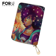 FORUDESIGNS PU Business Card Holder African Girls Printing Pattern Money Purses Bags Women Fashion Lady Cluth Wallets