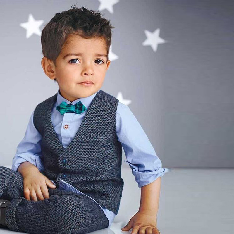 2019 New Autumn Kids Suits Blazers Baby Boys Single Breasted Blouse Overalls Tie Suit Boys Formal Wedding Wear Children Clothing