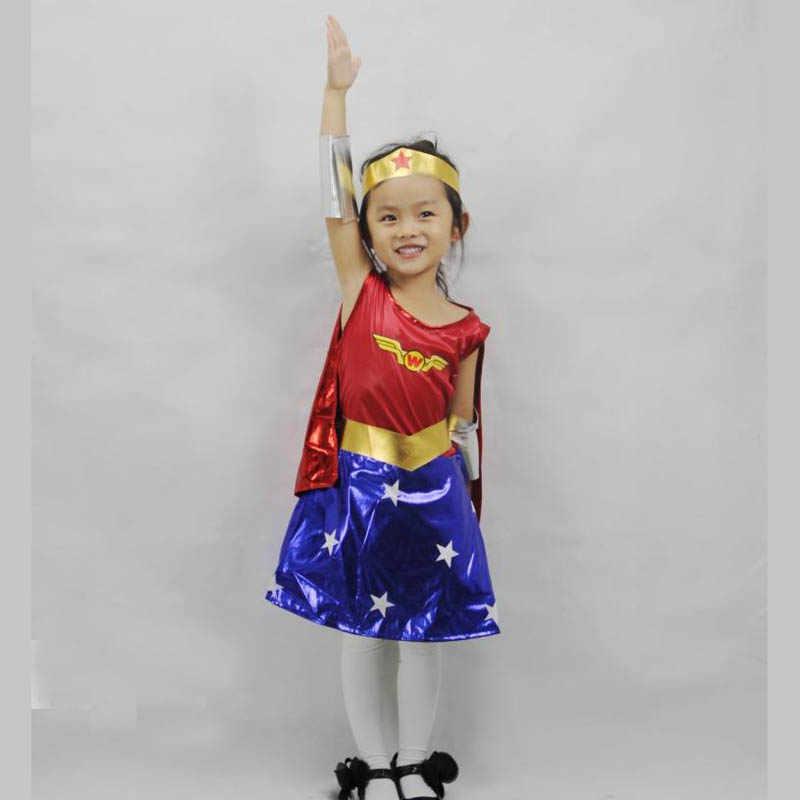 Ktlparty Super Gadis Wanita Anak Anak Wonder Woman Kostum Kostum Halloween Customes Biru Wanita Cape Kostum