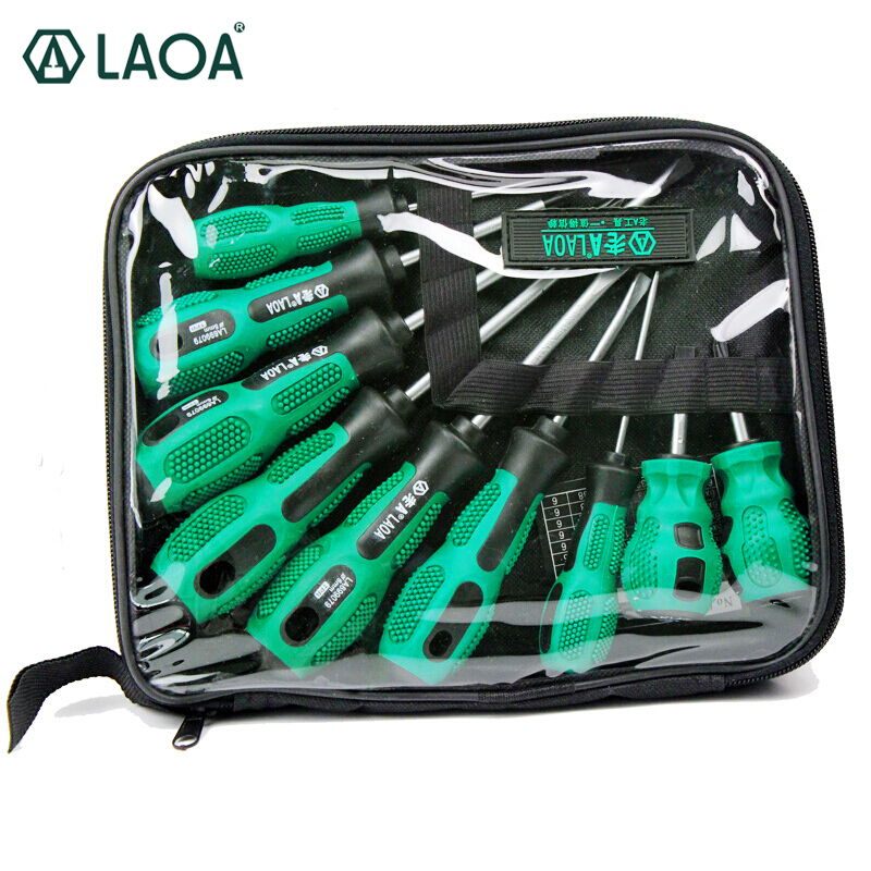 LAOA kiváló minőségű 9 db CR-V anyagú csavarhúzó készlet, hasított és Phillips fejjel háztartáshoz
