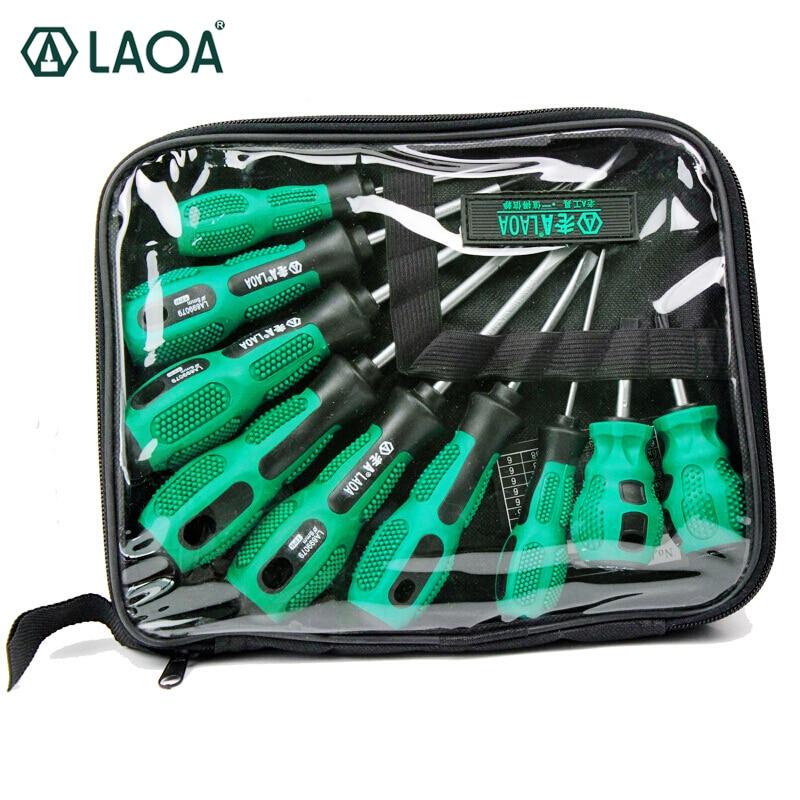 LAOA高品質9ピースCR-V素材ドライバーセット、スロット付き、プラスヘッド、家庭用