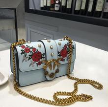 Neue Ankunft Vintage Frauen Messenger Bags Stickerei Blumen Klappe Taschen Hohe Qualität Kettenschloss Schulter Crossbody Bolsa Feminina