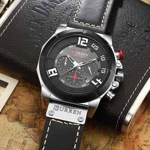 Image 4 - CURREN Luxury Brand Men Military Sport Chronograph Watches Date Quartz Male Clock Leather Strap Wrist watch Montre Homme  Reloj