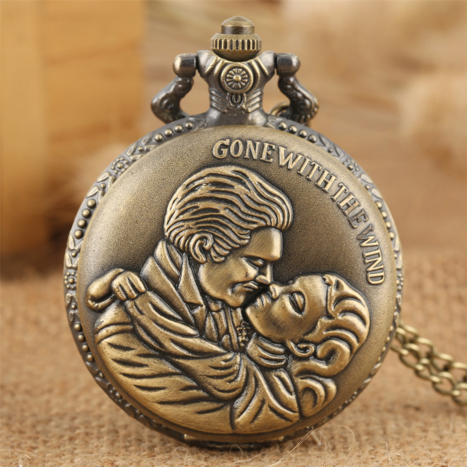 Lovers Kiss Design Bronze Quartz Pocket Watch Exquisite Pendant Jewelry Clock Gifts For Men Women Charming Romantic Necklace Wat