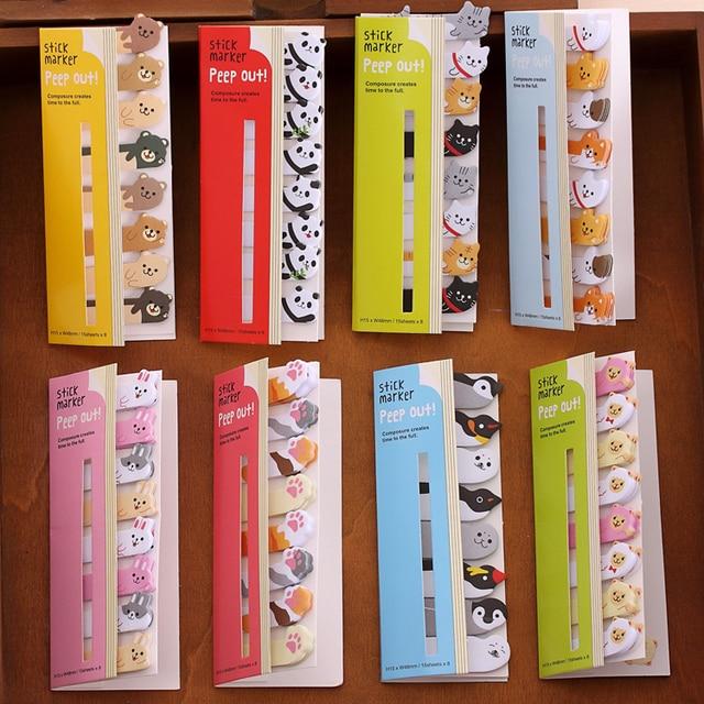 Mini lindo Kawaii dibujos animados animales gato Panda Bloc de notas adhesivas Bloc de notas papelería pegatinas de papel suministros escolares