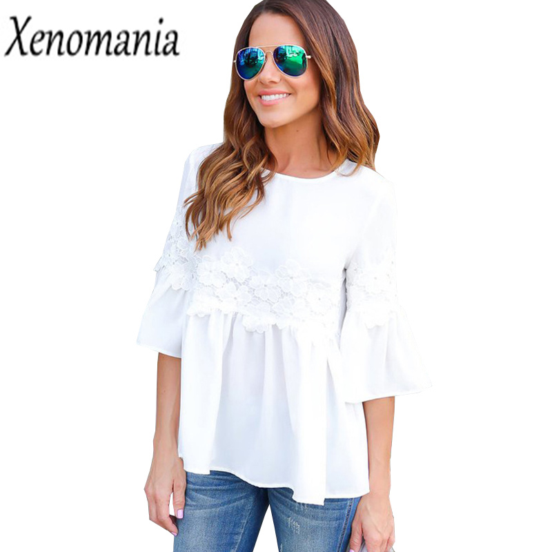 Camisa Feminina Cheap Clothes China White Lace Blouse 2017 Shirt Women Blouses Kimono Korean Flare Sleeve Blusas Boho Top Peplum