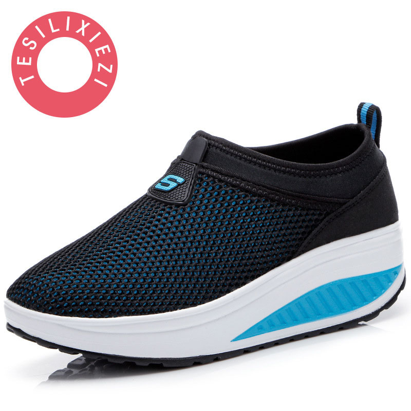 2018 Summer Shoes Women Causal  Fashion Walking Flats Height Increasing Women Loafers Breathable Mesh Swing Wedges Shoe summer women s casual shoes sport fashion walking flats height increasing women loafers breathable air mesh swing wedges shoe