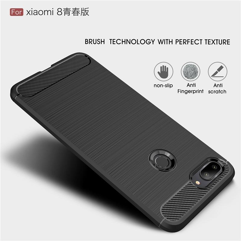 Xiaomi Mi 8 Lite Case Mi8 Cover QAZ Maggie Silicone Soft TPU Brushed Carbon Fiber Texture Case For Xiaomi Mi 8 SE Mi8 Pro