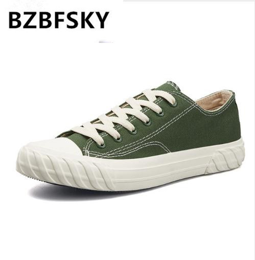 Man Casual Shoes Low Top Lace Up Fashion Vulcanize Shoes Canvas School Boys Teenage Shoes Green Color Male Footwera